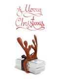 Concetto del regalo di Natale con i soldi dei usd di valuta del dollaro della pila su bianco Fotografie Stock Libere da Diritti