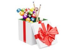 Concetto del regalo, palle da biliardo con il contenitore di regalo interno di stecca 3d rendono Fotografie Stock Libere da Diritti
