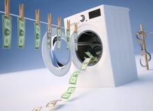 Concetto del riciclaggio di denaro, soldi che appendono su una corda che esce Immagine Stock