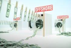 Concetto del riciclaggio di denaro, soldi che appendono su una corda che esce Immagini Stock
