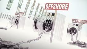 Concetto del riciclaggio di denaro, soldi che appendono su una corda che esce Fotografia Stock