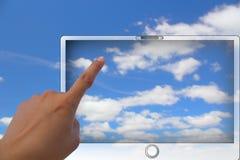 Concetto del rilievo di computazione e di tocco della nube Fotografia Stock Libera da Diritti