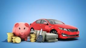 Concetto del risparmio per comprare un maiale dei soldi dell'automobile banconote in dollari in pile Immagini Stock Libere da Diritti