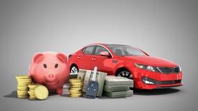 Concetto del risparmio per comprare un maiale dei soldi dell'automobile banconote in dollari in pile Fotografia Stock