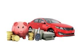 Concetto del risparmio per comprare un maiale dei soldi dell'automobile banconote in dollari in pile Fotografia Stock Libera da Diritti