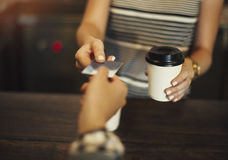 Concetto del ristorante del caffè della caffetteria di paga immagini stock libere da diritti