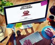 Concetto del robot della macchina di automazione di intelligenza artificiale Fotografie Stock