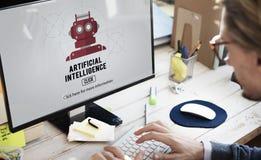 Concetto del robot della macchina di automazione di intelligenza artificiale fotografia stock