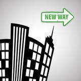 Concetto del segnale stradale di progettazione, della via e di modo, vettore editabile Immagine Stock