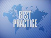 concetto del segno della mappa di mondo di best practice Immagine Stock