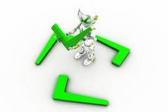 concetto del segno di spunta del robot 3d Fotografia Stock