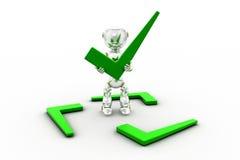 concetto del segno di spunta del robot 3d Fotografia Stock Libera da Diritti