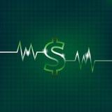 Concetto del simbolo di dollaro con la pulsazione Fotografia Stock Libera da Diritti