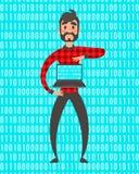 Concetto del supereroe del programmatore Illustrazione della gente di vettore Codice di dati binari, codificante sul computer por Fotografie Stock Libere da Diritti