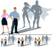 Concetto del supereroe delle coppie Fotografie Stock Libere da Diritti