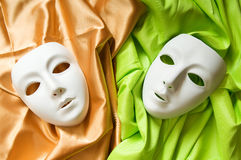 Concetto del teatro - mascherine bianche Immagine Stock