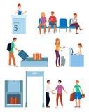 Concetto del terminale di aeroporto di vettore e del portone di partenza illustrazione vettoriale