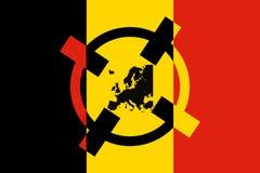 Concetto del terrorismo del Belgio Obiettivo belga di terrore del Crosshair della bandiera Fotografia Stock
