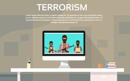 Concetto del terrorismo di Group Television Information del terrorista Immagini Stock