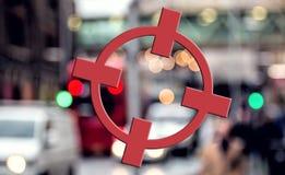 Concetto del terrorismo Obiettivo della città, Crosshairs rossi Minaccia di terrore Fotografie Stock
