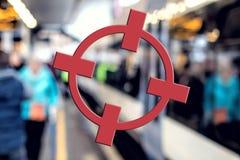 Concetto del terrorismo Obiettivo di trasporto, Crosshairs rossi Minaccia di terrore Fotografia Stock