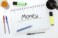 Concetto del testo dei soldi Fotografia Stock Libera da Diritti