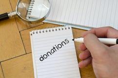 Concetto del testo di donazioni Fotografia Stock Libera da Diritti