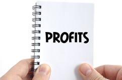 Concetto del testo di profitti fotografia stock libera da diritti