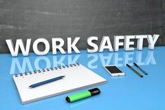 Concetto del testo di sicurezza del lavoro Fotografia Stock