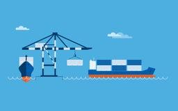 Concetto del trasporto della nave Fotografie Stock Libere da Diritti