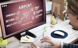 Concetto del trasporto di selezione del biglietto di volo dell'aeroporto Fotografie Stock