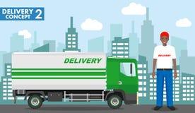 Concetto del trasporto Illustrazione dettagliata del camion di consegna e del driver dell'afroamericano, fattorino su fondo illustrazione di stock