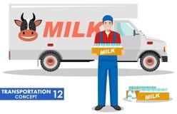 Concetto del trasporto Illustrazione dettagliata del camion del driver, dell'agricoltore e del latte Immagini Stock