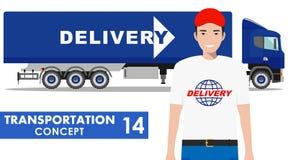 Concetto del trasporto Illustrazione dettagliata del camion e del driver di consegna su fondo bianco nello stile piano Vettore illustrazione di stock