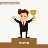 Concetto del vincitore del carattere di affari del fumetto Fotografia Stock