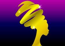 Concetto dell'acconciatura con la bella ragazza, siluetta delle donne di colore dell'oro Concetto di progetto per i saloni di bel illustrazione vettoriale