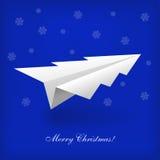 Concetto dell'aeroplano dell'albero di Natale e di origami Immagine Stock