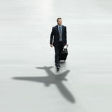 Concetto dell'aeroporto internazionale di viaggio dell'uomo di affari Fotografie Stock Libere da Diritti