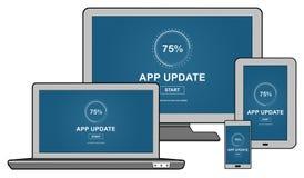 Concetto dell'aggiornamento di applicazione sui dispositivi differenti illustrazione vettoriale