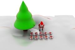 concetto dell'albero di Natale di 3d il Babbo Natale Fotografia Stock Libera da Diritti