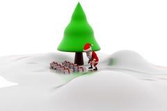 concetto dell'albero di Natale di 3d il Babbo Natale Immagini Stock Libere da Diritti
