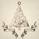 Concetto dell'albero di Natale Icone impostate Immagini Stock Libere da Diritti