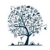 Concetto dell'albero di pesca, schizzo per la vostra progettazione Fotografie Stock Libere da Diritti