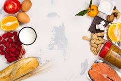 Concetto dell'alimento di allergia Fotografie Stock