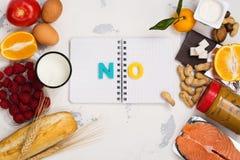 Concetto dell'alimento di allergia Fotografia Stock