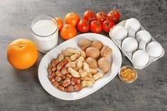 Concetto dell'alimento di allergia Alimento allergico Fotografie Stock