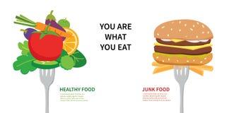 Concetto dell'alimento siete che cosa mangiate Fotografia Stock
