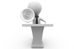 concetto dell'altoparlante di discorso dell'uomo 3d Fotografie Stock Libere da Diritti