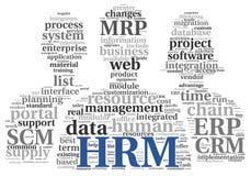 Concetto dell'amministrazione delle risorse umane di HRM in nuvola dell'etichetta Immagine Stock Libera da Diritti