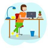 Concetto dell'area di lavoro con i dispositivi Studentessa nel luogo di lavoro con una tavola del grafico Donna, donna di affari, illustrazione vettoriale